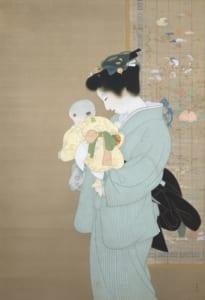 上村松園「母子」近代美術館蔵